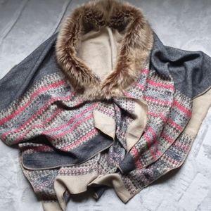 Faux fur Aztec designed knit shawl scarf